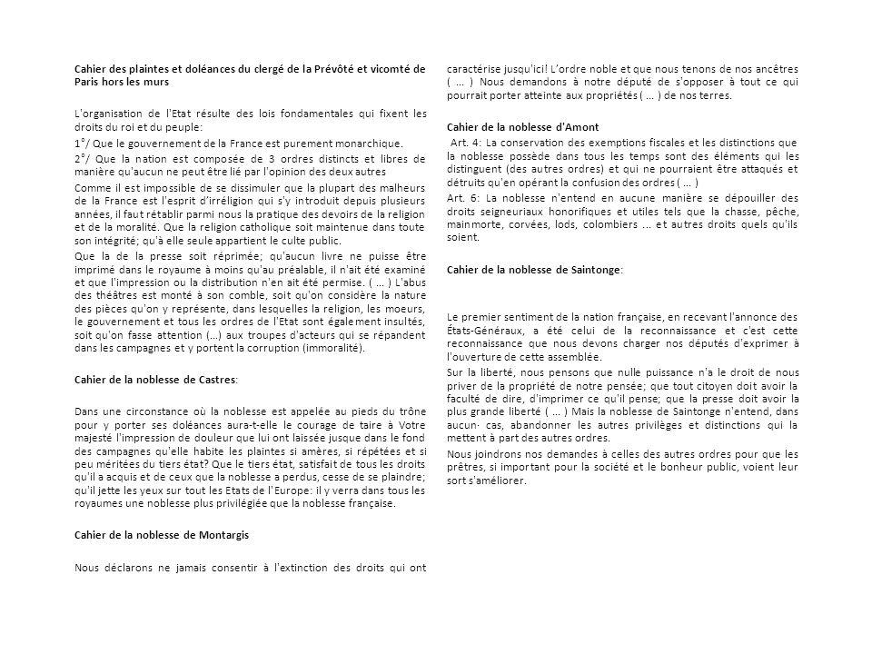 Cahier des plaintes et doléances du clergé de la Prévôté et vicomté de Paris hors les murs L'organisation de l'Etat résulte des lois fondamentales qui
