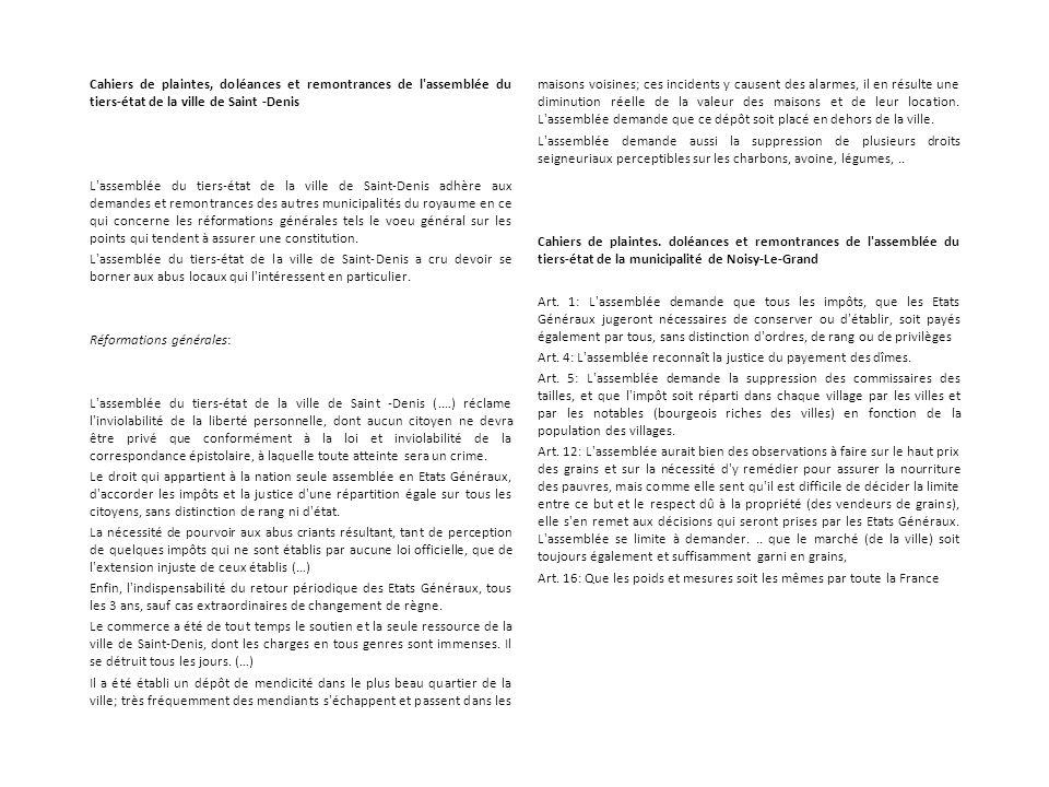 Cahiers de plaintes, doléances et remontrances de l'assemblée du tiers-état de la ville de Saint -Denis L'assemblée du tiers-état de la ville de Saint