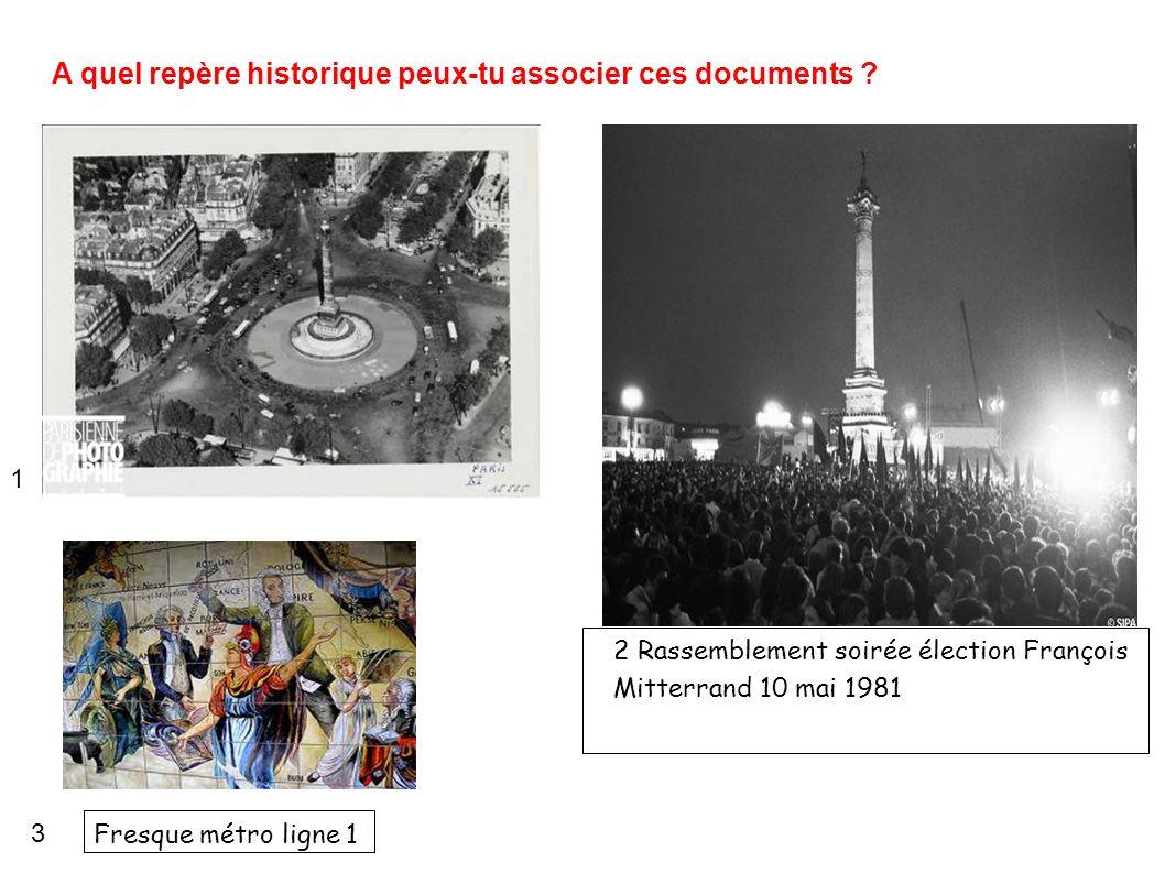 A quel repère historique peux-tu associer ces documents ? 2 Rassemblement soirée élection François Mitterrand 10 mai 1981 1 3 Fresque métro ligne 1