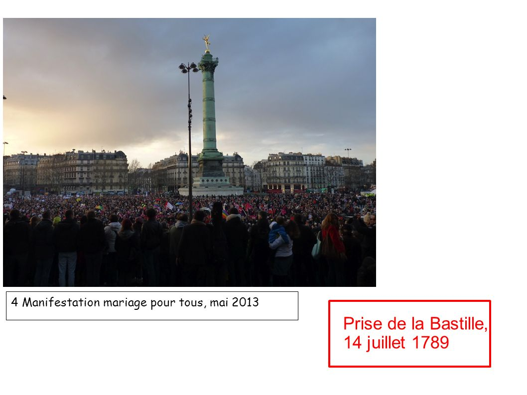 4 Manifestation mariage pour tous, mai 2013 Prise de la Bastille, 14 juillet 1789