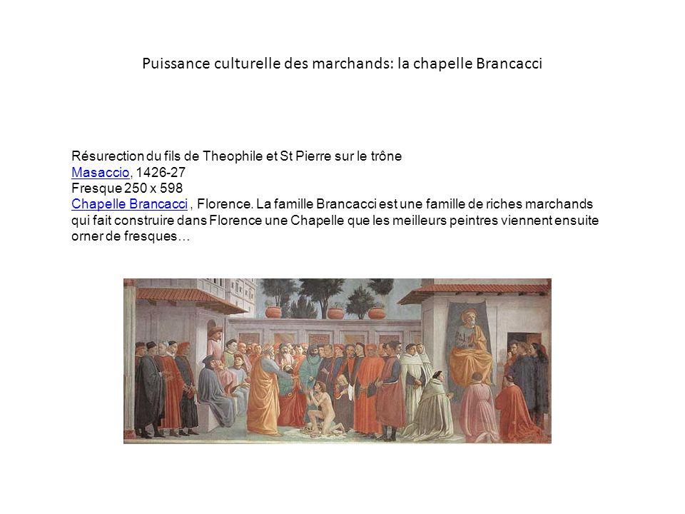 Puissance culturelle des marchands: la chapelle Brancacci Résurection du fils de Theophile et St Pierre sur le trône Masaccio, 1426-27 Fresque 250 x 5
