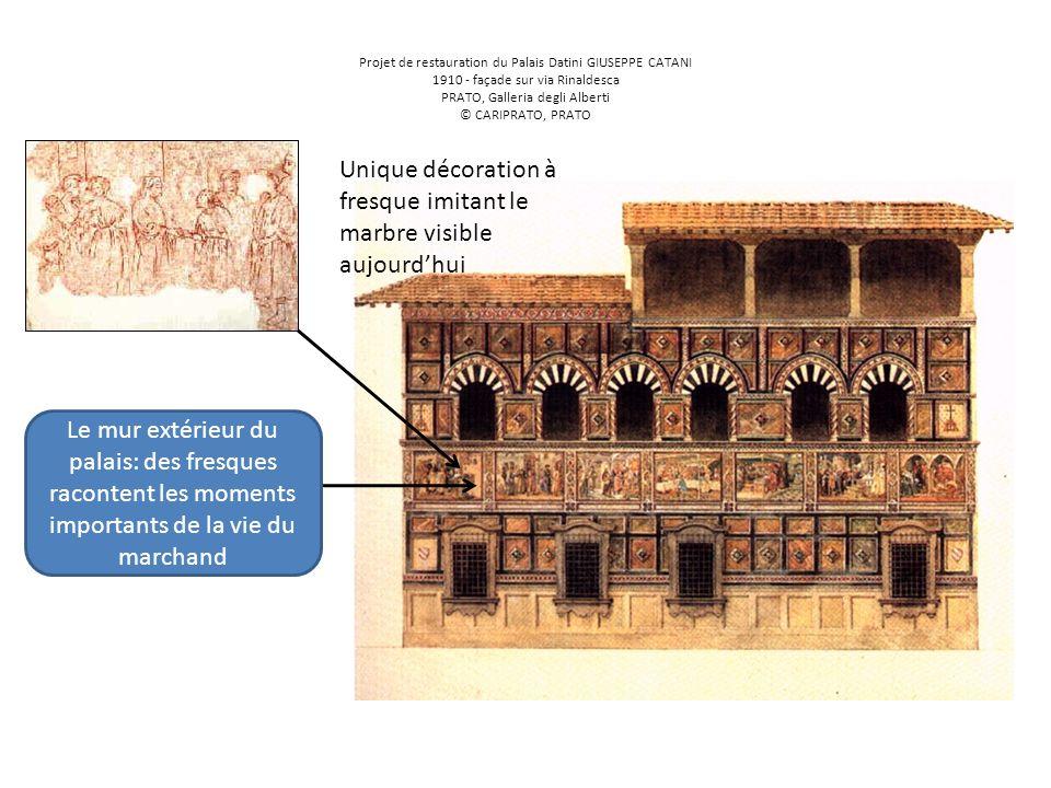 Projet de restauration du Palais Datini GIUSEPPE CATANI 1910 - façade sur via Rinaldesca PRATO, Galleria degli Alberti © CARIPRATO, PRATO Le mur extér