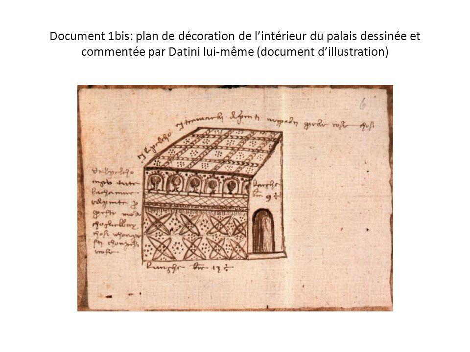 Document 1bis: plan de décoration de lintérieur du palais dessinée et commentée par Datini lui-même (document dillustration)