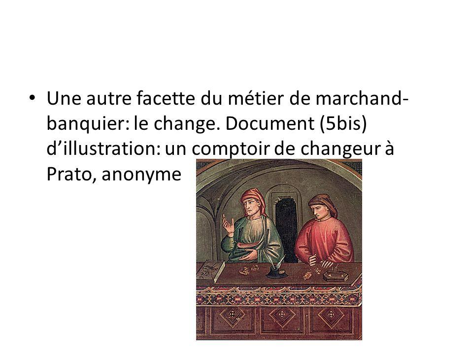 Une autre facette du métier de marchand- banquier: le change. Document (5bis) dillustration: un comptoir de changeur à Prato, anonyme