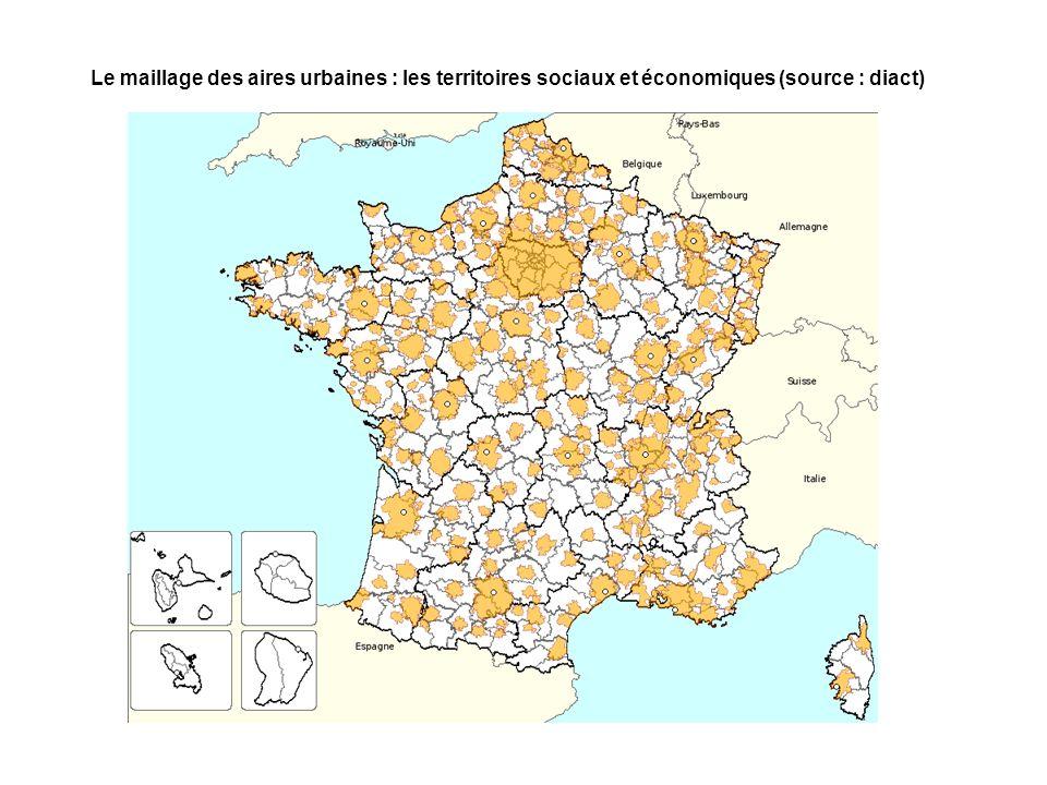 Le maillage des aires urbaines : les territoires sociaux et économiques (source : diact)