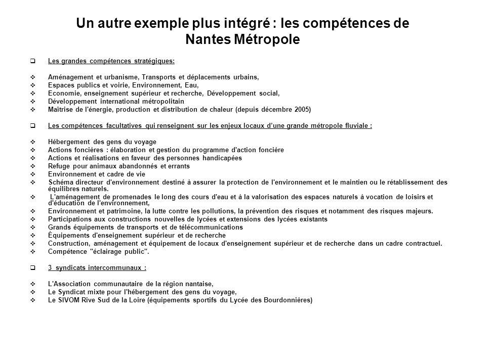 Un autre exemple plus intégré : les compétences de Nantes Métropole Les grandes compétences stratégiques: Aménagement et urbanisme, Transports et dépl