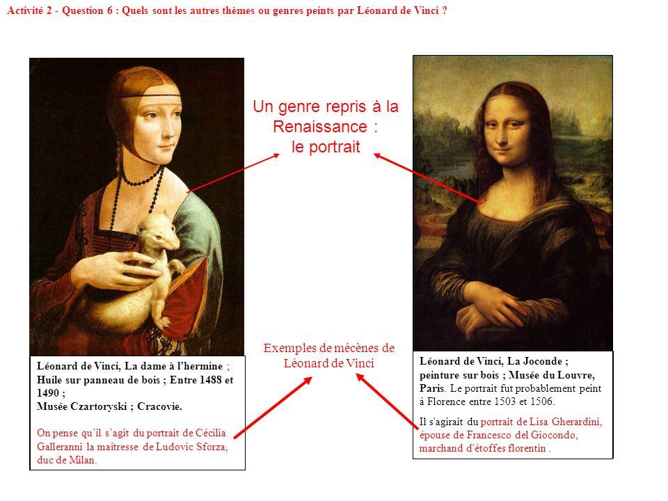 Léonard de Vinci, La dame à lhermine ; Huile sur panneau de bois ; Entre 1488 et 1490 ; Musée Czartoryski ; Cracovie. On pense quil sagit du portrait