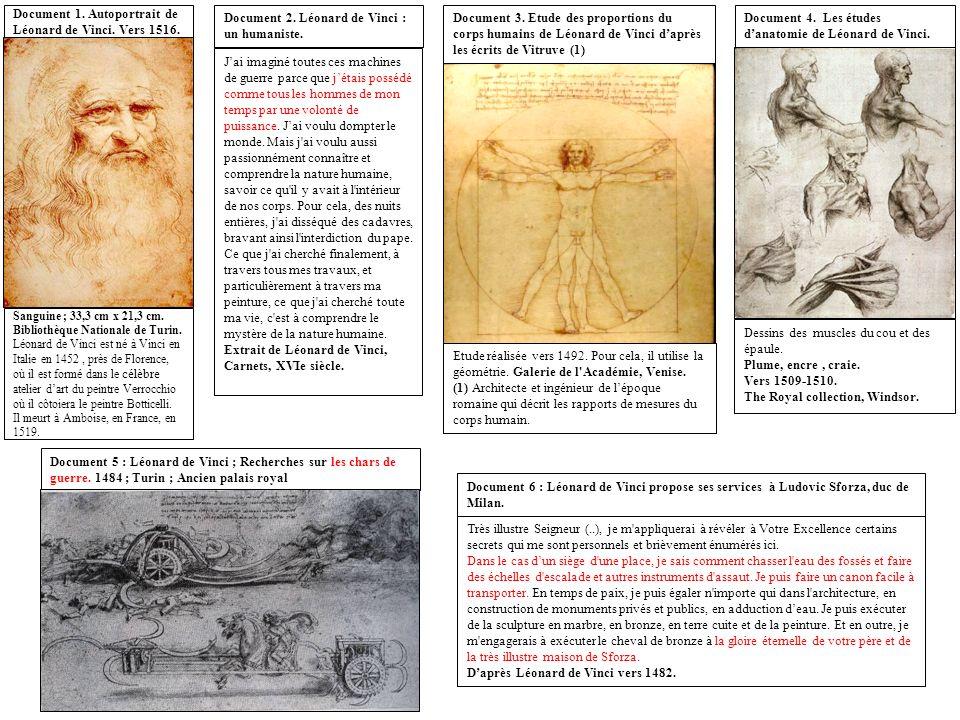 Sanguine ; 33,3 cm x 21,3 cm. Bibliothèque Nationale de Turin. Léonard de Vinci est né à Vinci en Italie en 1452, près de Florence, où il est formé da