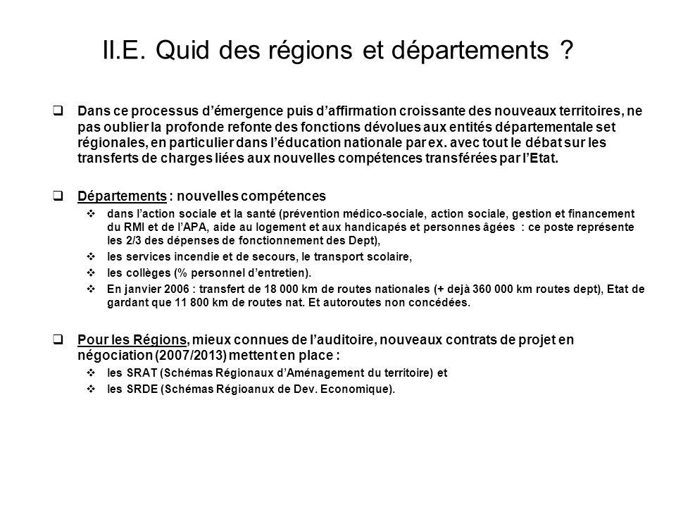II.E. Quid des régions et départements ? Dans ce processus démergence puis daffirmation croissante des nouveaux territoires, ne pas oublier la profond