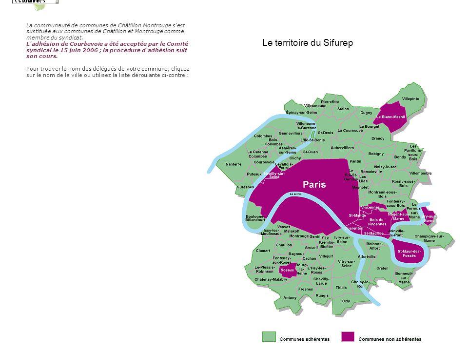 Le territoire du Sifurep La communauté de communes de Châtillon Montrouge s est sustituée aux communes de Châtillon et Montrouge comme membre du syndicat.