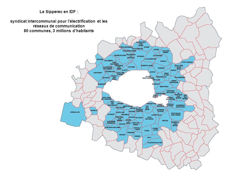 Le Sipperec en IDF : syndicat intercommunal pour lélectrification et les réseaux de communication 80 communes, 3 millions dhabitants