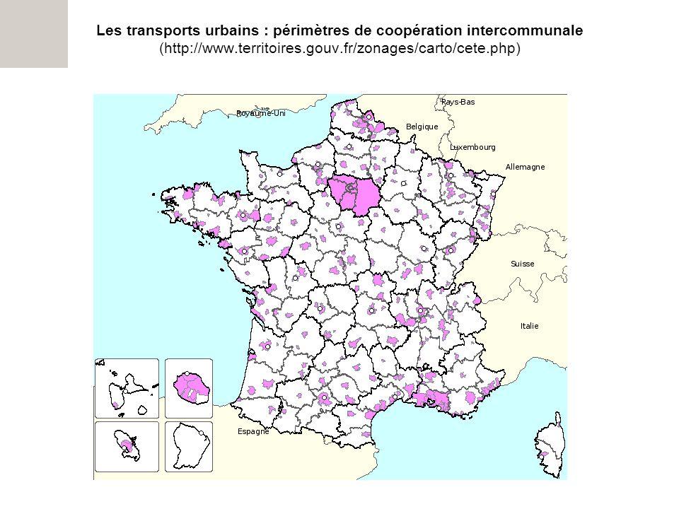 Les transports urbains : périmètres de coopération intercommunale (http://www.territoires.gouv.fr/zonages/carto/cete.php)