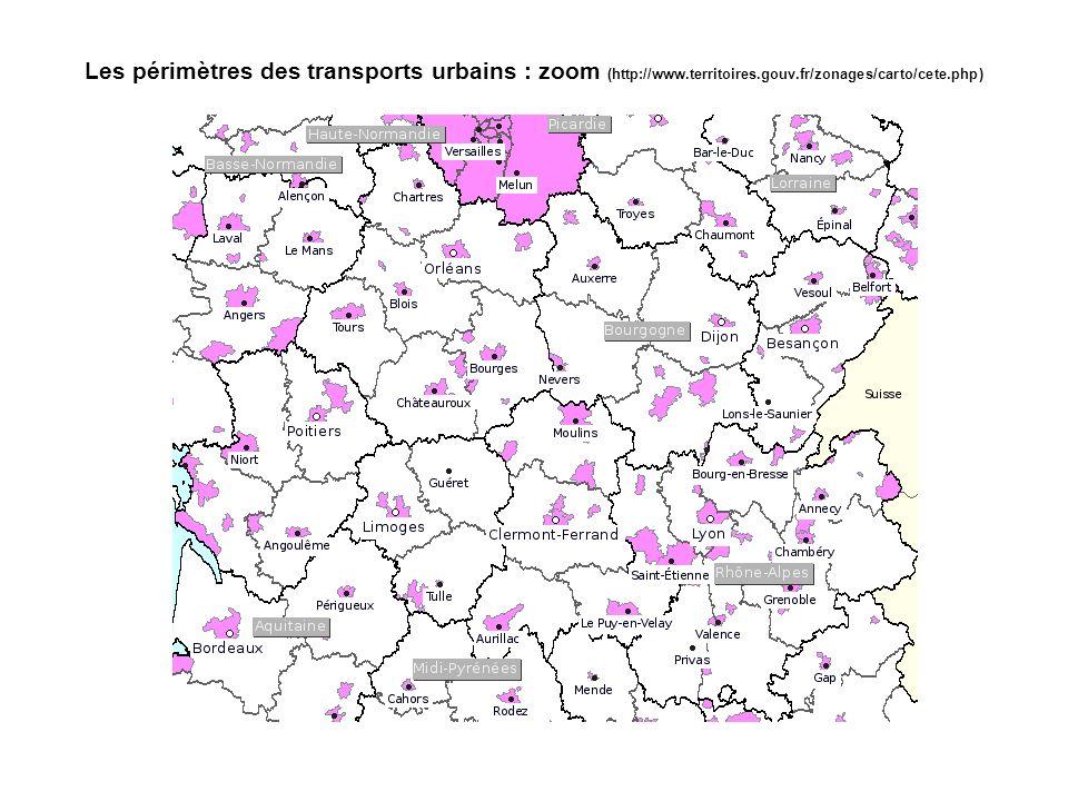 Les périmètres des transports urbains : zoom (http://www.territoires.gouv.fr/zonages/carto/cete.php)