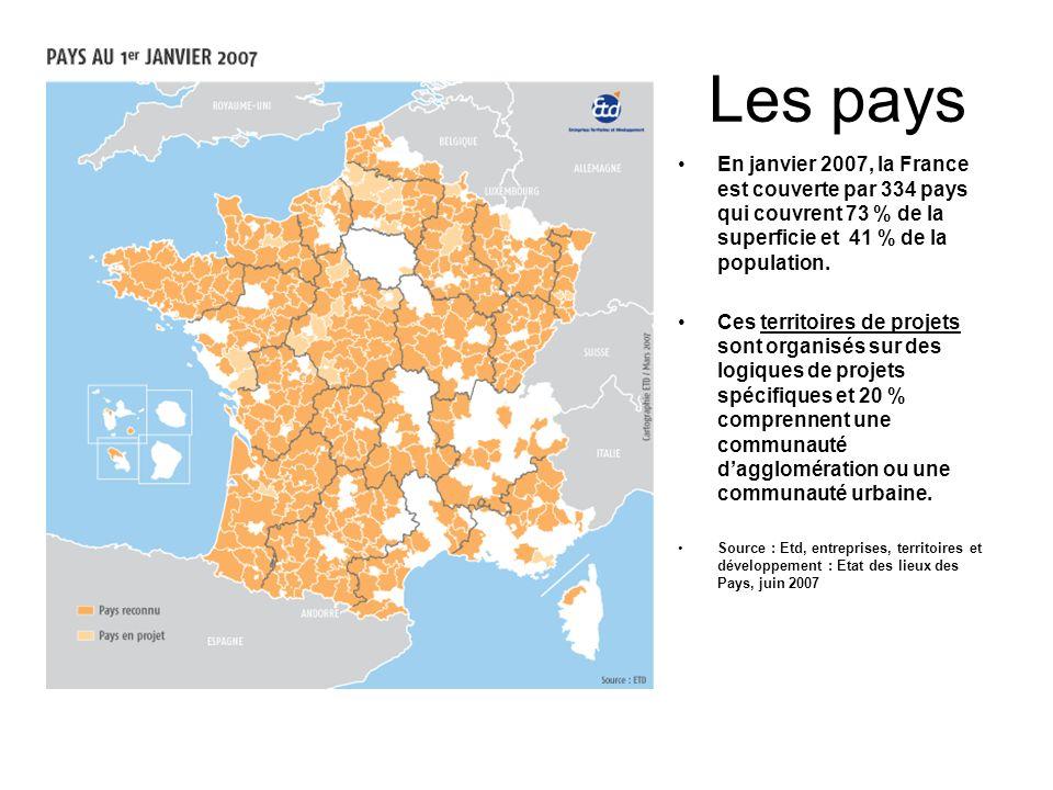 Les pays En janvier 2007, la France est couverte par 334 pays qui couvrent 73 % de la superficie et 41 % de la population.