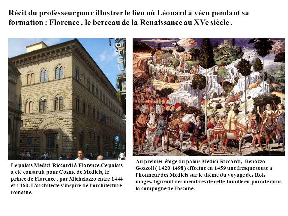 Au premier étage du palais Medici-Riccardi, Benozzo Gozzoli ( 1420-1498 ) effectue en 1459 une fresque toute à l honneur des Médicis sur le thème du voyage des Rois mages, figurant des membres de cette famille en parade dans la campagne de Toscane.