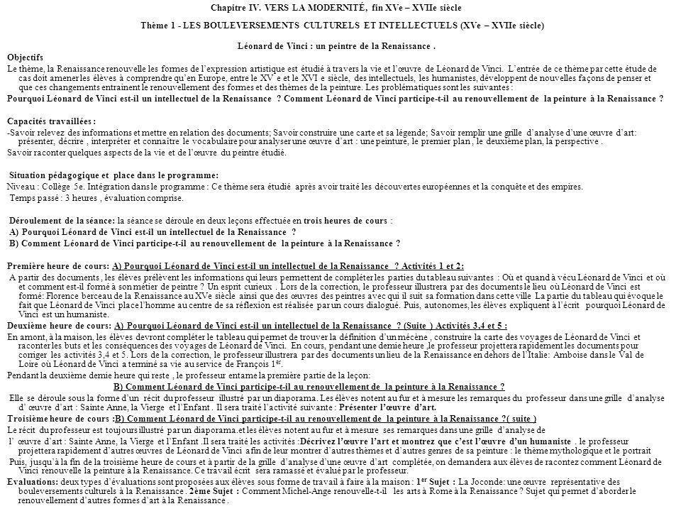 Chapitre IV. VERS LA MODERNITÉ, fin XVe – XVIIe siècle Thème 1 - LES BOULEVERSEMENTS CULTURELS ET INTELLECTUELS (XVe – XVIIe siècle) Léonard de Vinci