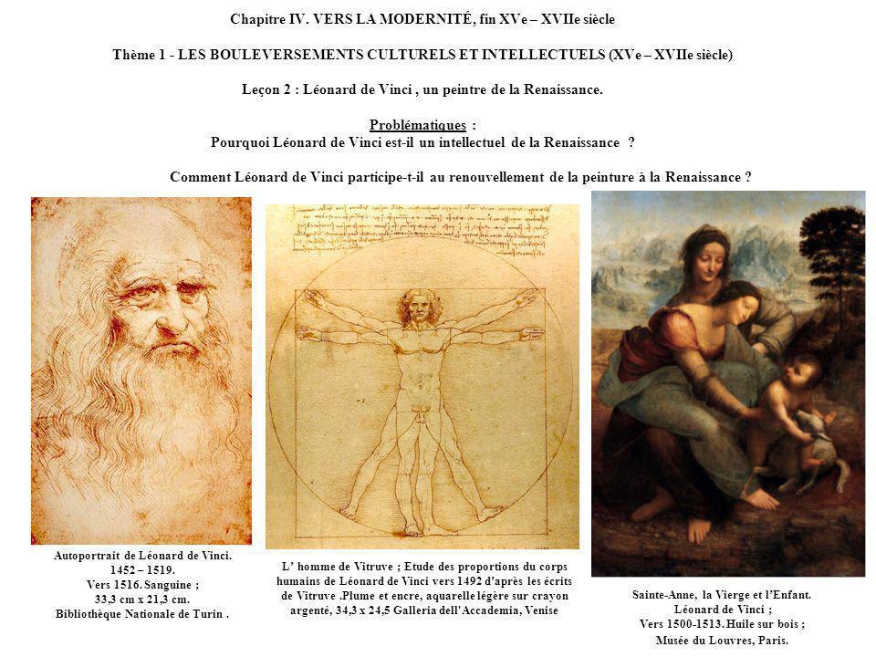 Chapitre IV. VERS LA MODERNITÉ, fin XVe – XVIIe siècle Thème 1 - LES BOULEVERSEMENTS CULTURELS ET INTELLECTUELS (XVe – XVIIe siècle) Leçon 2 : Léonard