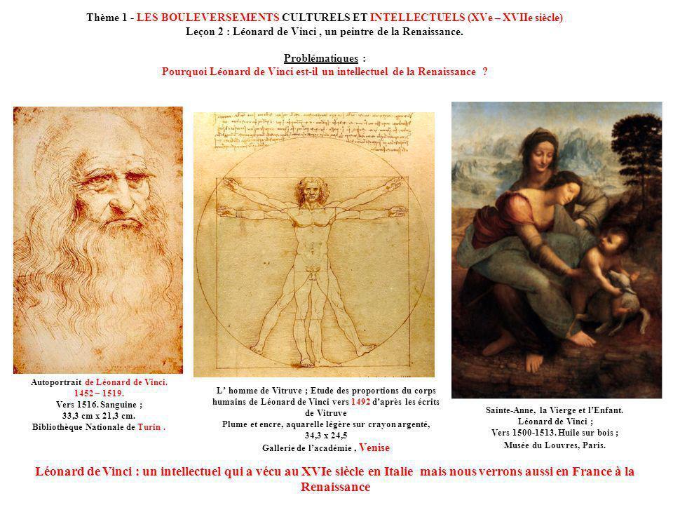 Thème 1 - LES BOULEVERSEMENTS CULTURELS ET INTELLECTUELS (XVe – XVIIe siècle) Leçon 2 : Léonard de Vinci, un peintre de la Renaissance. Problématiques