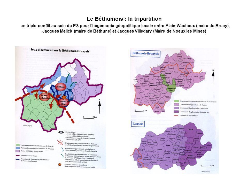 Le Béthumois : la tripartition un triple conflit au sein du PS pour lhégémonie géopolitique locale entre Alain Wacheux (maire de Bruay), Jacques Melic