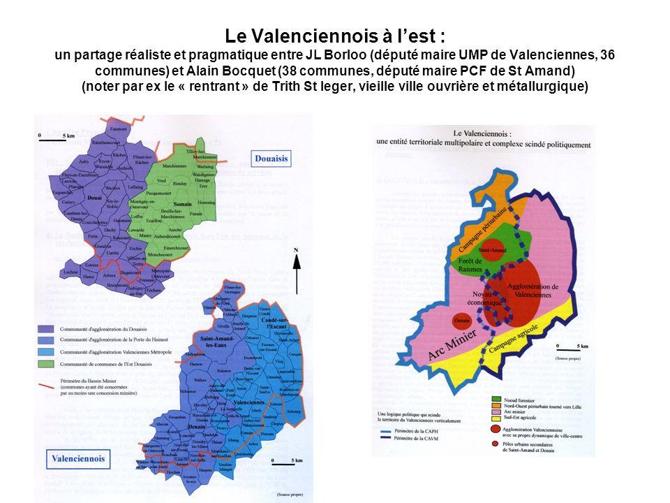 Le Valenciennois à lest : un partage réaliste et pragmatique entre JL Borloo (député maire UMP de Valenciennes, 36 communes) et Alain Bocquet (38 comm