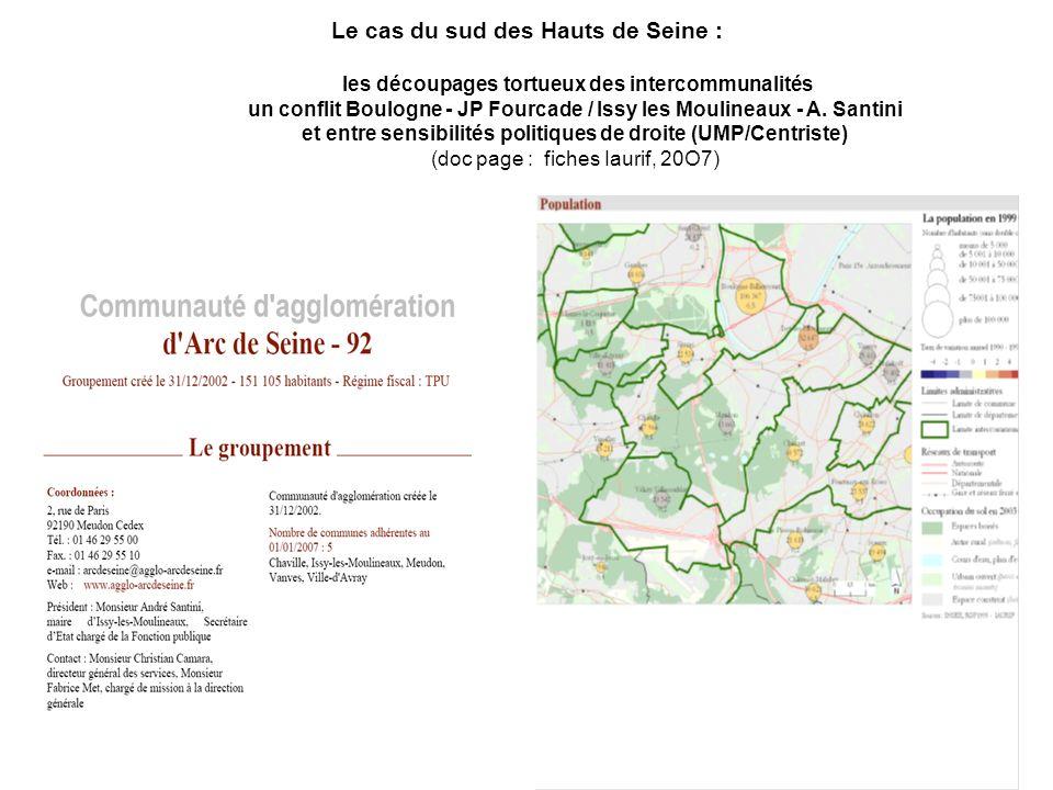Le cas du sud des Hauts de Seine : les découpages tortueux des intercommunalités un conflit Boulogne - JP Fourcade / Issy les Moulineaux - A. Santini