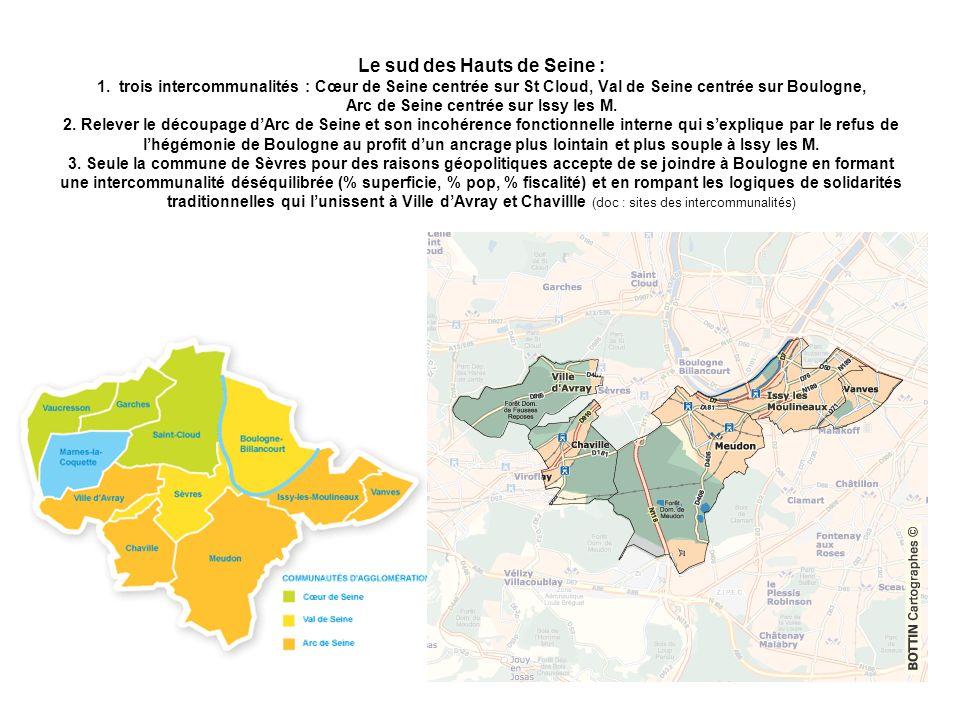 Le sud des Hauts de Seine : 1. trois intercommunalités : Cœur de Seine centrée sur St Cloud, Val de Seine centrée sur Boulogne, Arc de Seine centrée s