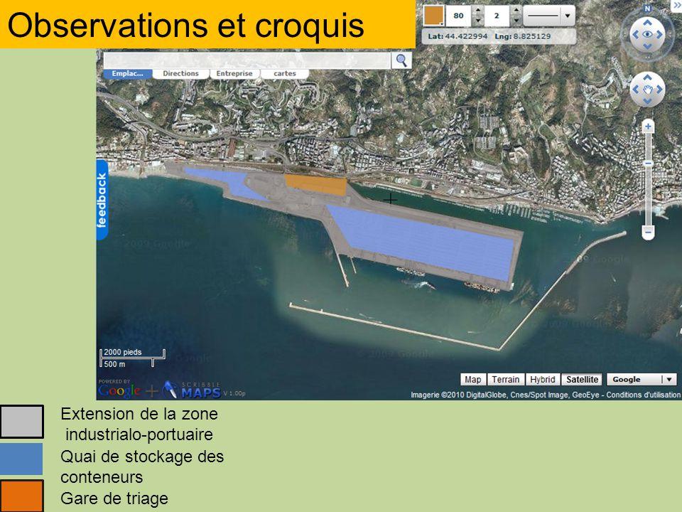 Observations et croquis Extension de la zone industrialo-portuaire Quai de stockage des conteneurs Gare de triage