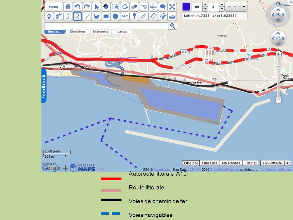 Autoroute littorale A10 Route littorale Voies de chemin de fer Voies navigables