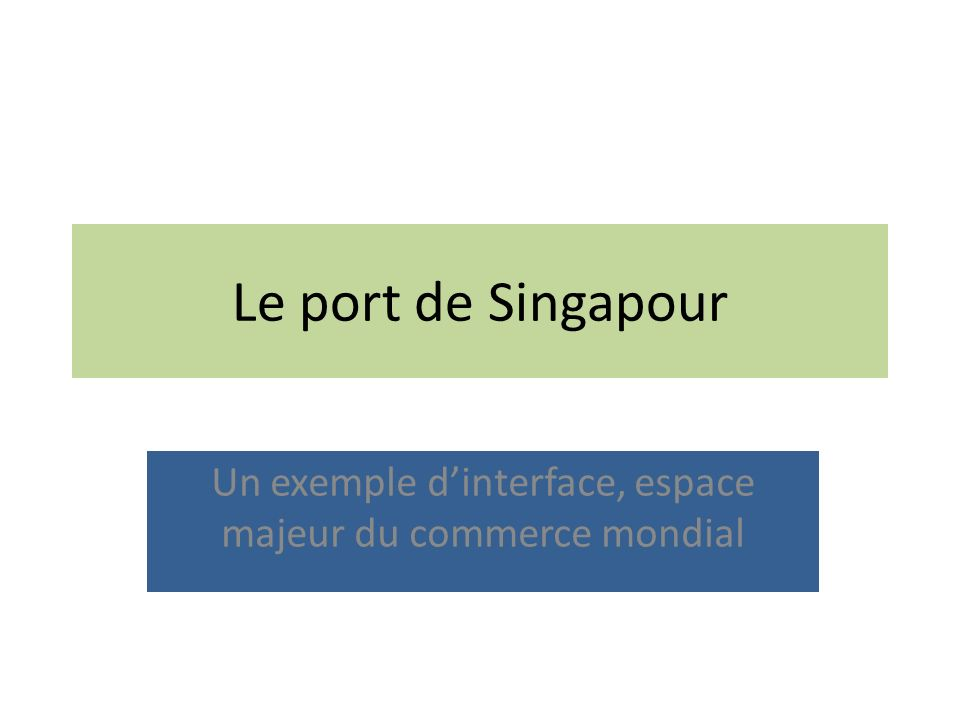 Le port de Singapour Un exemple dinterface, espace majeur du commerce mondial