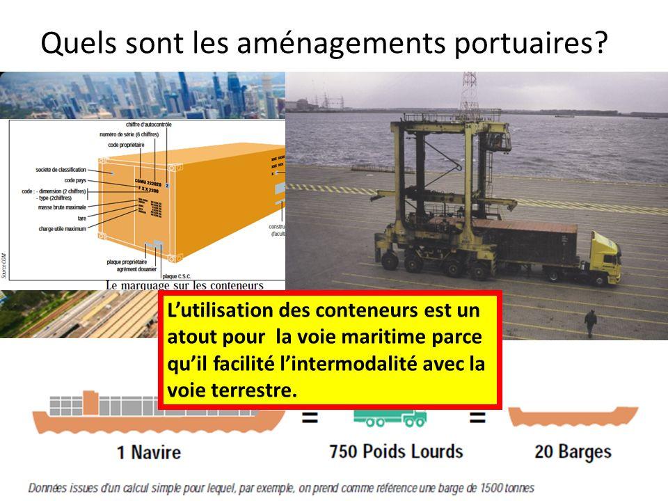 Quels sont les aménagements portuaires? Lutilisation des conteneurs est un atout pour la voie maritime parce quil facilité lintermodalité avec la voie