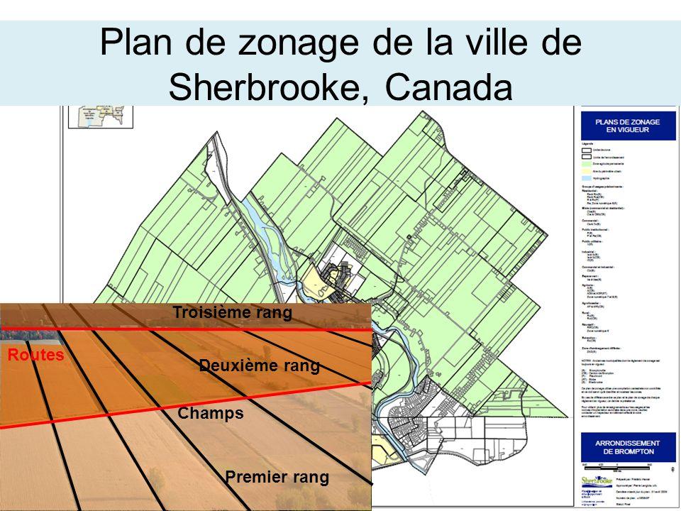 Premier rang Deuxième rang Champs Troisième rang Routes Plan de zonage de la ville de Sherbrooke, Canada