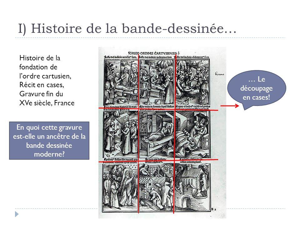 I) Histoire de la bande-dessinée… Histoire de la fondation de lordre cartusien, Récit en cases, Gravure fin du XVe siècle, France En quoi cette gravur