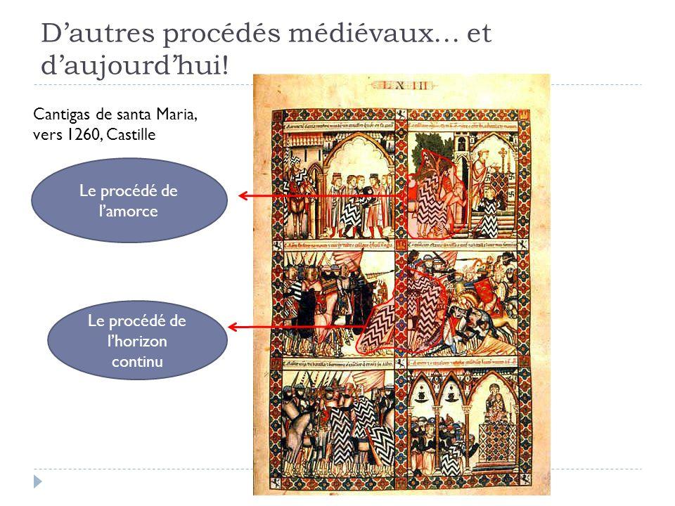 Dautres procédés médiévaux… et daujourdhui! Cantigas de santa Maria, vers 1260, Castille Le procédé de lamorce Le procédé de lhorizon continu