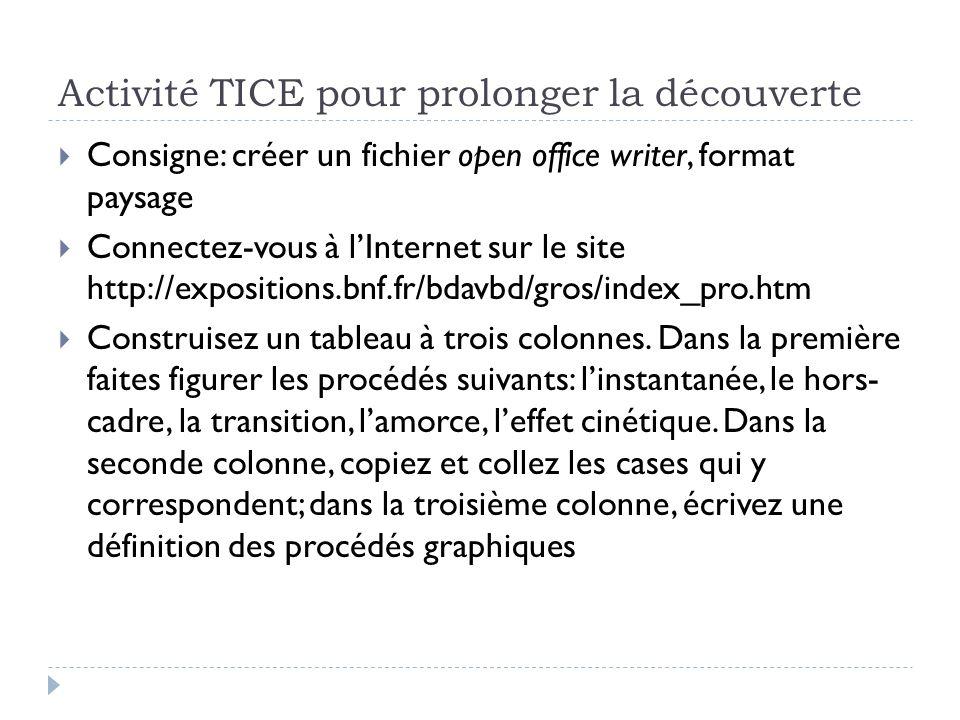Activité TICE pour prolonger la découverte Consigne: créer un fichier open office writer, format paysage Connectez-vous à lInternet sur le site http:/
