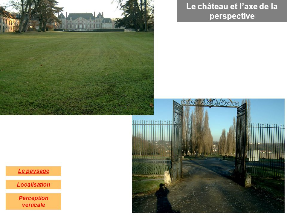 Localisation Le paysage Perception verticale Le château et laxe de la perspective