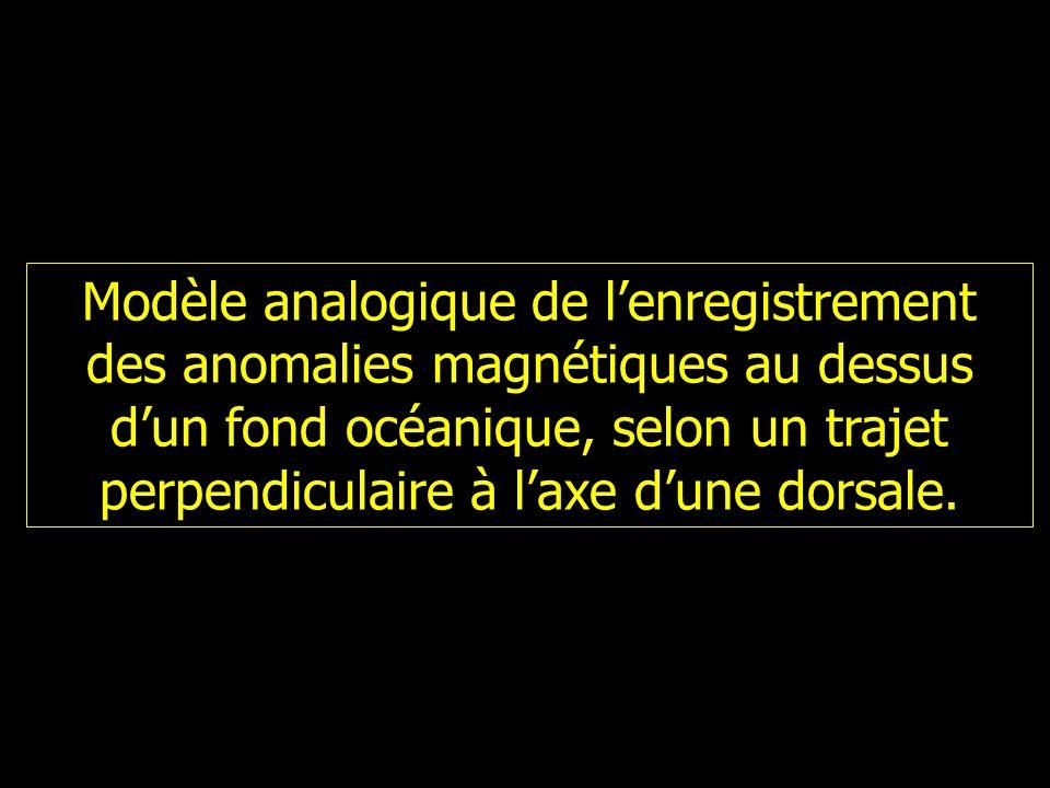 Modèle analogique de lenregistrement des anomalies magnétiques au dessus dun fond océanique, selon un trajet perpendiculaire à laxe dune dorsale.