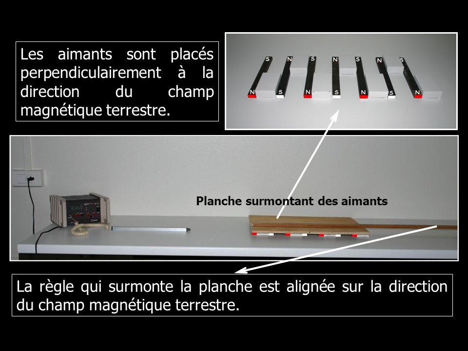 Planche surmontant des aimants La règle qui surmonte la planche est alignée sur la direction du champ magnétique terrestre. Les aimants sont placés pe