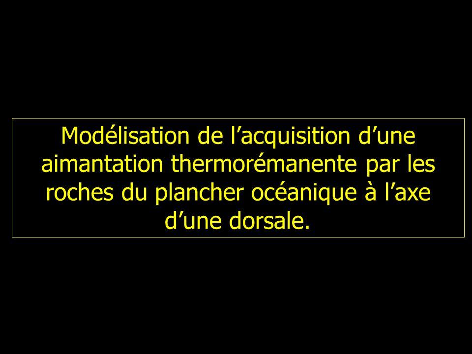 Modélisation de lacquisition dune aimantation thermorémanente par les roches du plancher océanique à laxe dune dorsale.