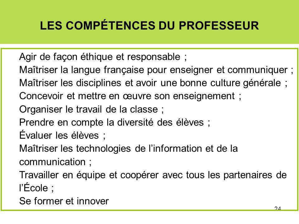 24 LES COMPÉTENCES DU PROFESSEUR Agir de façon éthique et responsable ; Maîtriser la langue française pour enseigner et communiquer ; Maîtriser les di