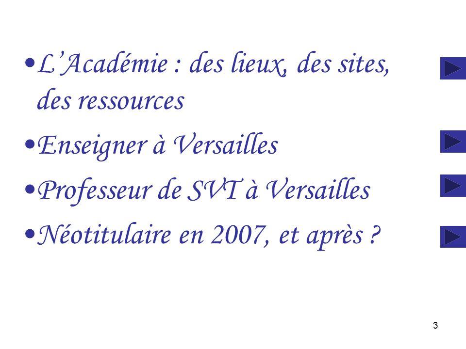 3 LAcadémie : des lieux, des sites, des ressources Enseigner à Versailles Professeur de SVT à Versailles Néotitulaire en 2007, et après ?