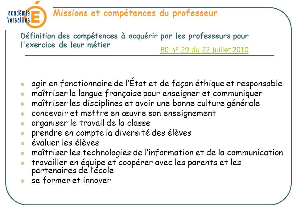 agir en fonctionnaire de lÉtat et de façon éthique et responsable maîtriser la langue française pour enseigner et communiquer maîtriser les discipline