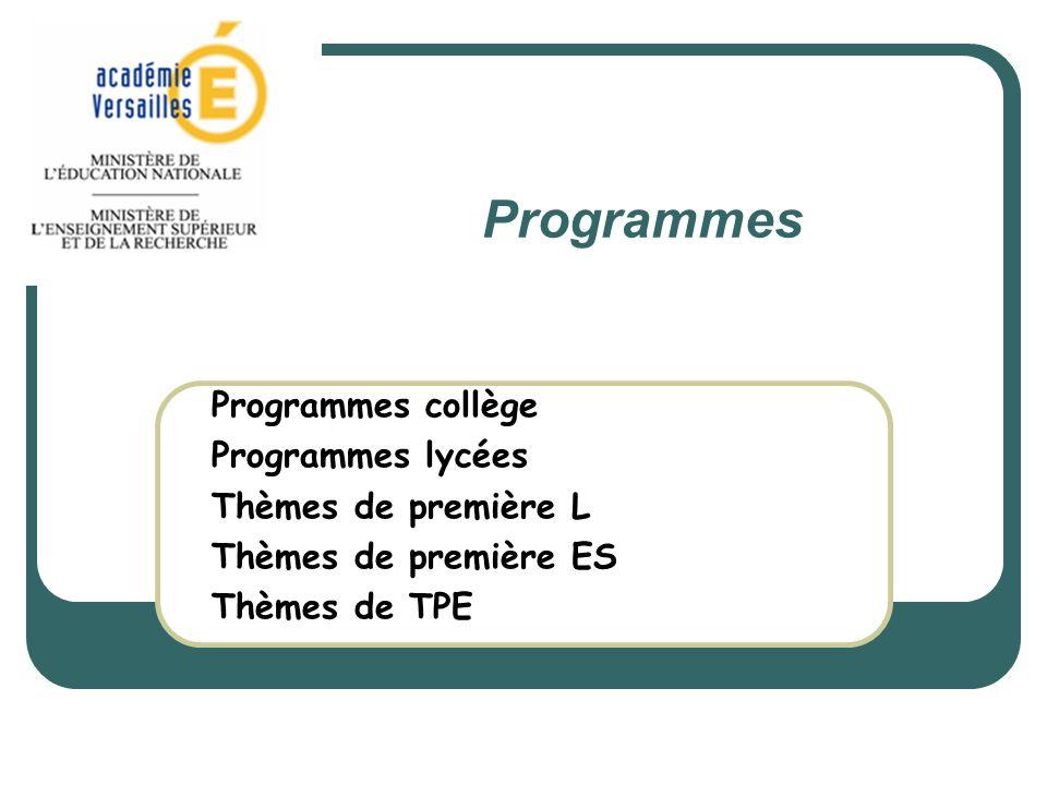 Programmes en vigueur au collège Une nouvelle version du programme du collège, réécrite en cohérence avec le socle commun, les autres disciplines et les nouveaux programmes de lécole est entrée en vigueur à la rentrée 2009 : BO hors série n°6 du 28 août 2008 Programmes et diplômes