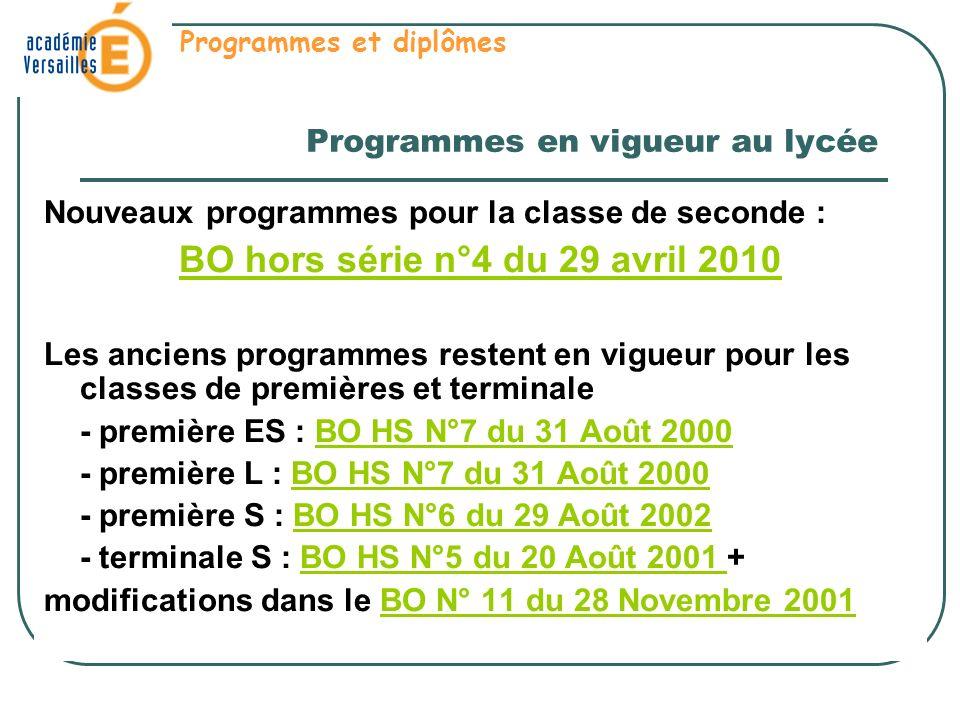Programmes en vigueur au lycée Nouveaux programmes pour la classe de seconde : BO hors série n°4 du 29 avril 2010 Les anciens programmes restent en vi