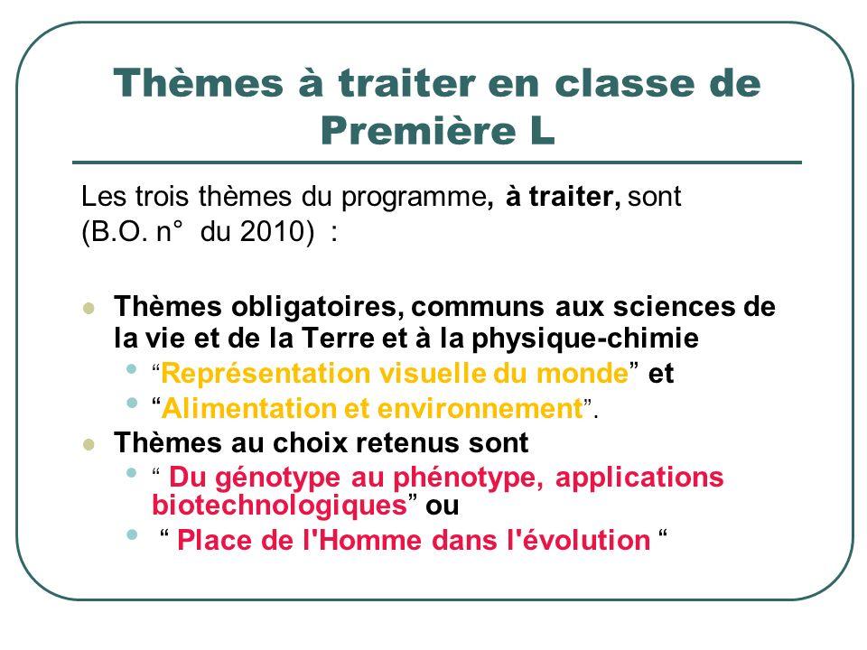 Thèmes à traiter en classe de Première L Les trois thèmes du programme, à traiter, sont (B.O. n° du 2010) : Thèmes obligatoires, communs aux sciences