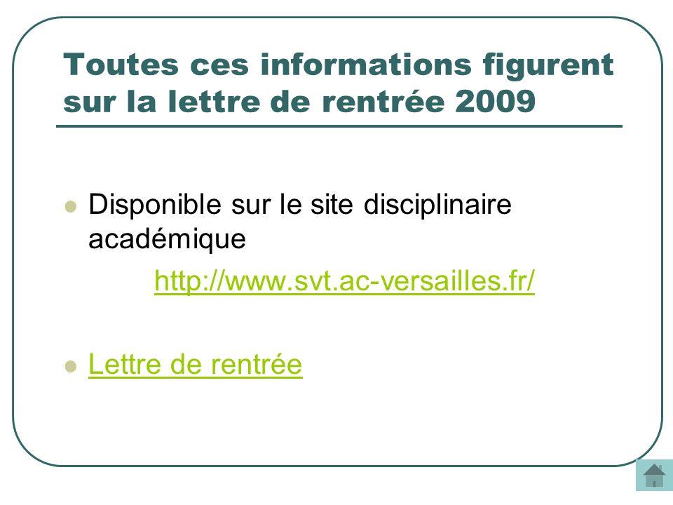 Toutes ces informations figurent sur la lettre de rentrée 2009 Disponible sur le site disciplinaire académique http://www.svt.ac-versailles.fr/ Lettre