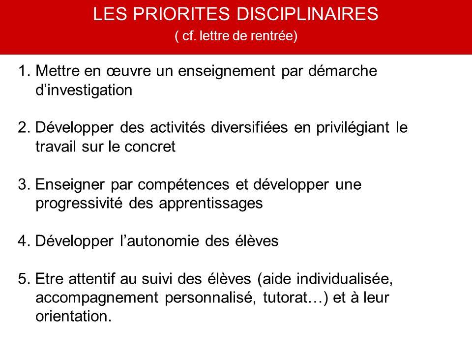 1.Mettre en œuvre un enseignement par démarche dinvestigation 2. Développer des activités diversifiées en privilégiant le travail sur le concret 3. En