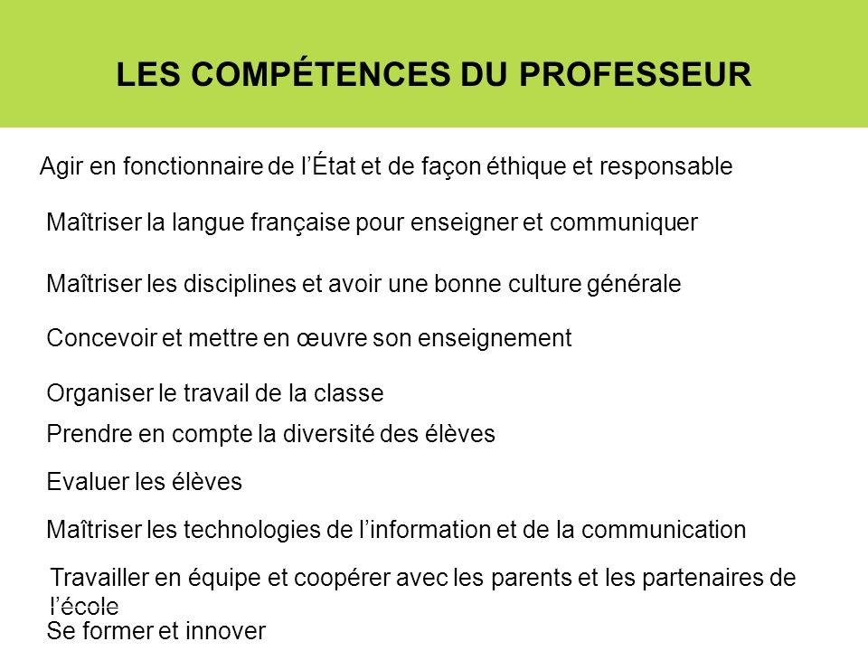 LES COMPÉTENCES DU PROFESSEUR Agir en fonctionnaire de lÉtat et de façon éthique et responsable Maîtriser la langue française pour enseigner et commun