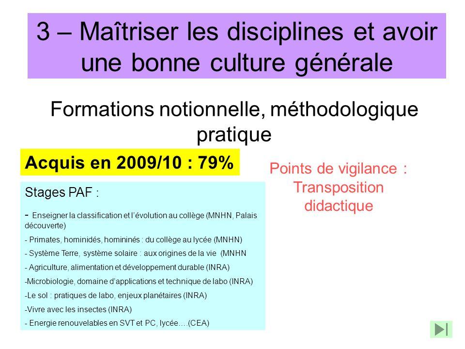3 – Maîtriser les disciplines et avoir une bonne culture générale Formations notionnelle, méthodologique pratique Acquis en 2009/10 : 79% Points de vi