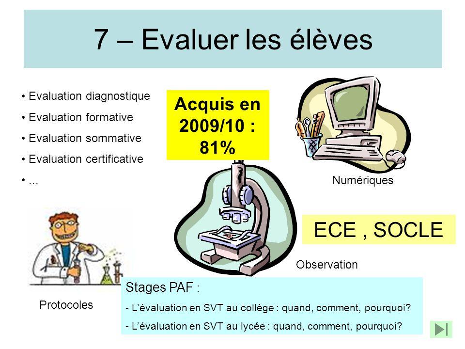 7 – Evaluer les élèves Evaluation diagnostique Evaluation formative Evaluation sommative Evaluation certificative... Protocoles Observation Numériques