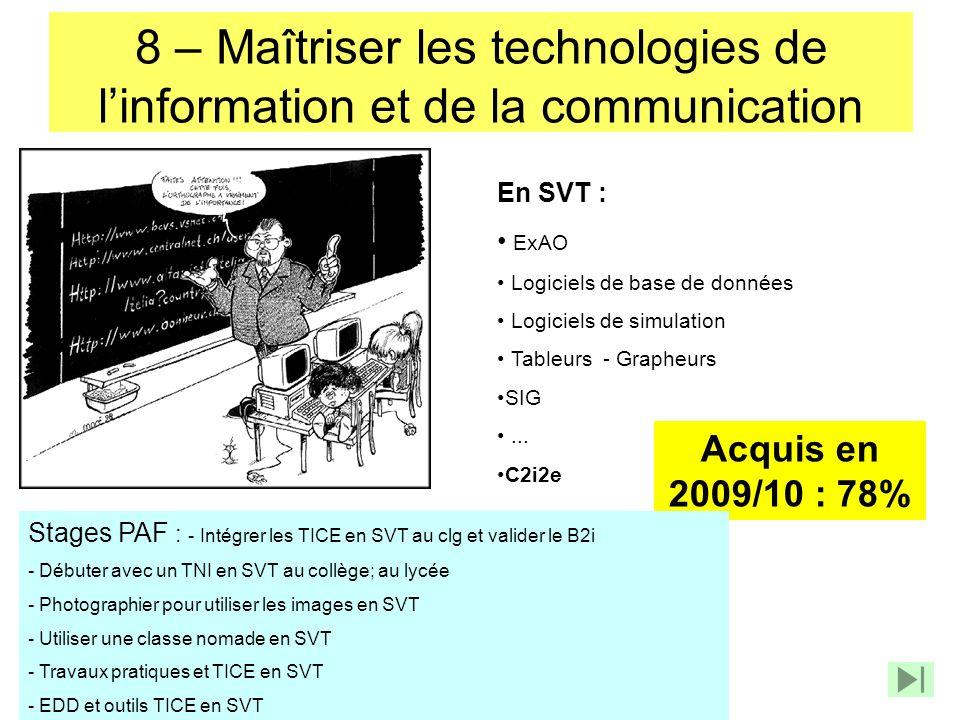 8 – Maîtriser les technologies de linformation et de la communication En SVT : ExAO Logiciels de base de données Logiciels de simulation Tableurs - Gr